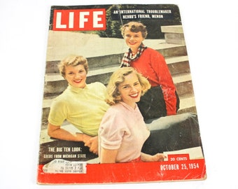 Vintage 1954 Life Magazine Oct.25 Issue Cover Photo Michigan State Coeds Great Articles Photos Advertisements 172 pages