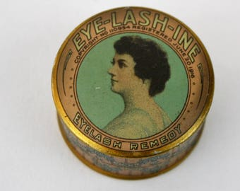 1916 Eyelash Remedy Tin Tiny Round Tin EYE-Lash-Ine Lovely Lady on the Lid Dark Hair Advertisement  Collectible Tin