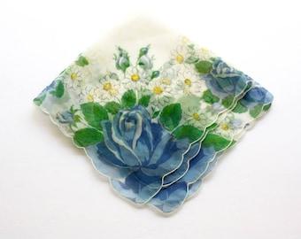 Vintage Floral Handkerchief White Sheer Nylon Hankie w Blue Roses White Daisies Something Blue Wedding Hankie Hanky