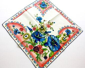 Vintage Floral Handkerchief Ladies Square White Cotton Linen Hankie w Large Blue Morning Glories Coral Flower Border
