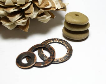 Washer pendants etsy genuine drilled beach stones pendants beads large necklace diy hammered oxidized copper washer pendant charms handmade pebbles chico aloadofball Images