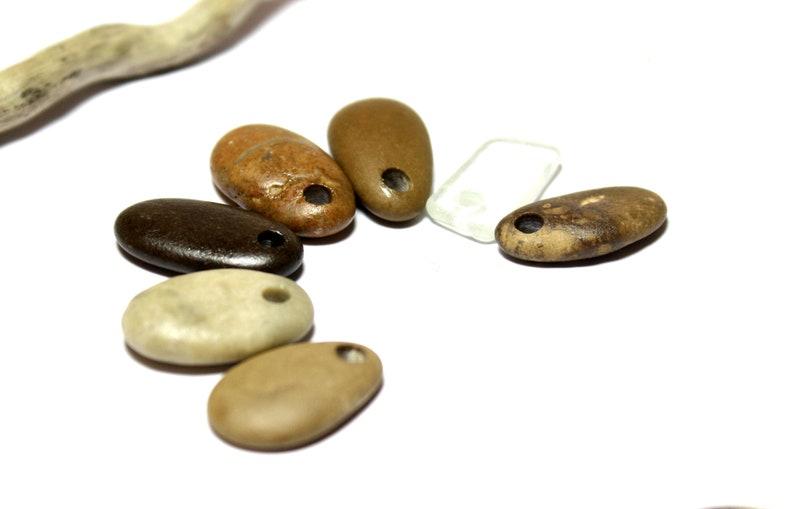 Top Drilled Beach Stone Supplies Sea Glass Beads Diy Beach Stone Jewelry Natural Sea Pebble Beads Diy Supply Stone Pendant Necklace Braun
