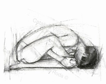 Figurative Gesture Drawing Print - Reproduction Print 8.5 x 11 Horizontal - Charcoal Female Nude Figure Drawing- Sitting Stretch Sketch - BW