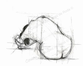 Figurative Gesture Drawing Print - Reproduction Print 8.5 x 11 Horizontal - Charcoal Female Nude Drawing - Sit Abstract Stretch Sketch - BW