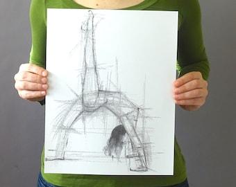 Original Figurative Gesture Drawing - Black and White Female Dancer Charcoal Original Sketch - Vertical 14 x 11 inches - Figure Arch Back