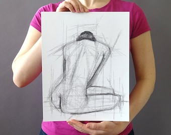 Original Figurative Gesture Drawing - Black and White Female Nude Charcoal Original Sketch - Vertical 14 x 11 inches - Figure Back Abstract