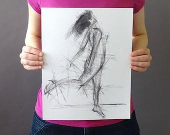 Original Figurative Gesture Drawing - Black and White Female Dancer Charcoal Original Sketch - Vertical 14 x 11 inches - Figure Movement