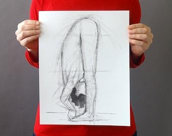 Original Figurative Gesture Drawing - Black and White Female Nude Charcoal Original Sketch - Vertical 14 x 11 inches - Figure Fold Half