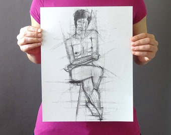Original Figurative Gesture Drawing - Black and White Female Nude Charcoal Original Sketch - Vertical 14 x 11 inches - Figure Legs Crossed
