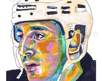 NHL Brad Marchand Print - Painting Reproduction Print 11 x 8.5 Vertical - Figurative Portrait Painting of NHL Ice Hockey Boston Bruins