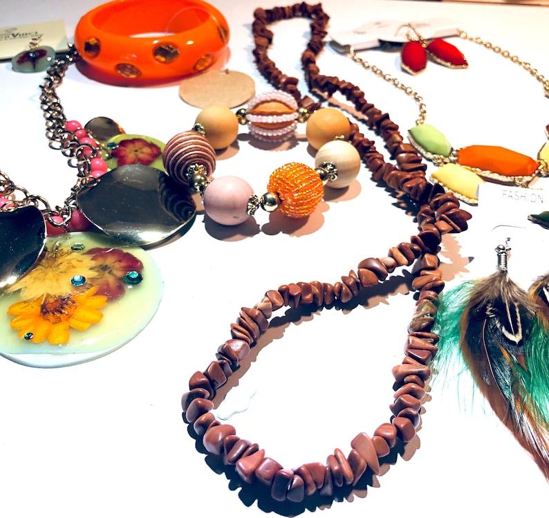 Boho rich hippie Jewelry lot orange green yellow tiger print bracelet feather earrings