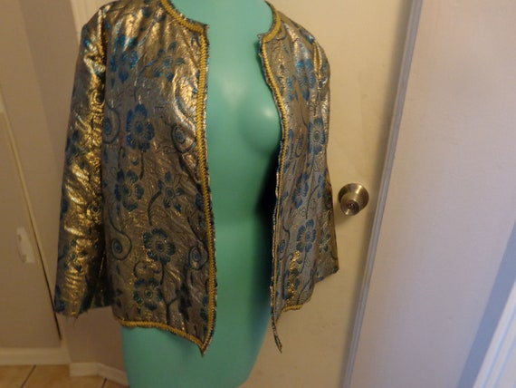 Vintage Gold and Turquoise Lame Jacket - 60's - 70
