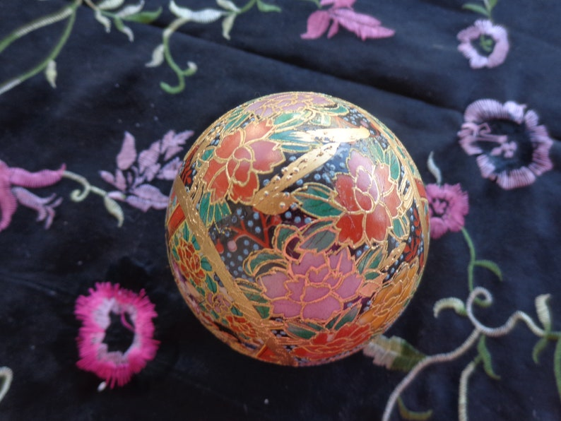 Vintage Japanese Highly Decorated Moirage  Porcelain  Floral and Geisha Egg Lots of gold trim No damage