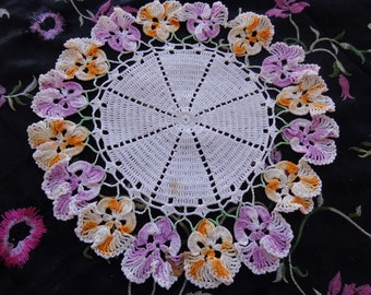 Vintage Hand Crocheted Multicolored Pansy Doily