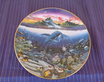 Plate  Collectors - Underwater Paradise Series by Robert Lyn Nelson New Moon Over Windward Oahu Limited edition 75 firing days Danbury Mint