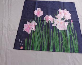 Scarf -  Small lightweight semi sheer Oriental scarf - Dark Blue with Pink Iris flowers on green stems  - Oriental mark -signature  18 x 18