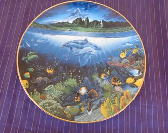 Plate  Collectors - Underwater Paradise Series by Robert Lyn Nelson  A Discovery off Anahola Limited edition 75 firing days Danbury Mint