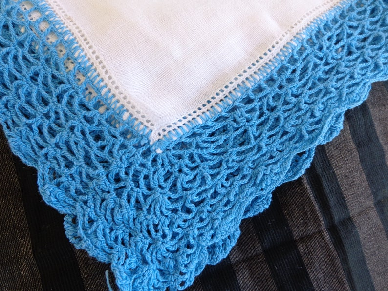 CROCHET HANDKERCHIEF PAIR veru clean and well done   Crochet about one inch long Vintage  Blue hand crocheted pair of handkerchiefs