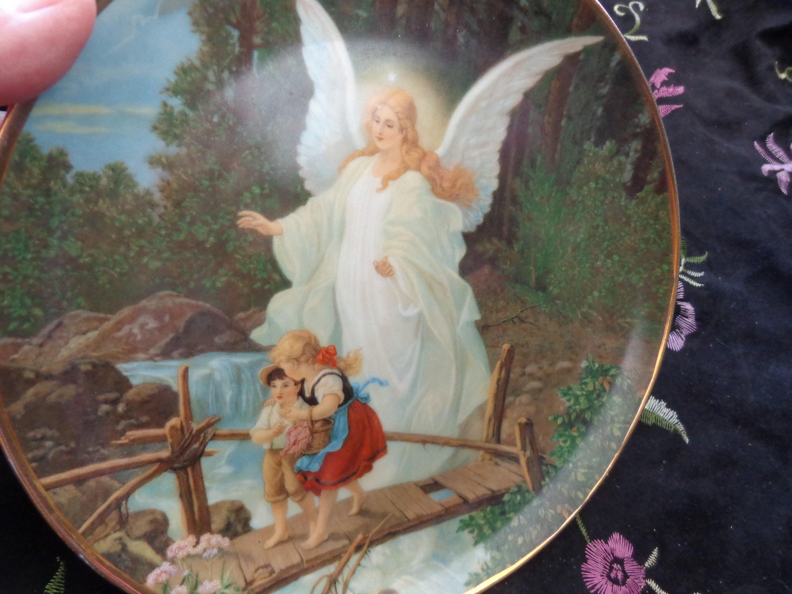 Guardian Angel On The Perilous Bridge Plate Victorian Angel Etsy