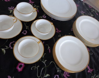 Haviland & Noritake Fine China Set -Gold and Ivory - 20 pcs - Ivory/Gold Trim - Dinner, Salad and Bread Plates, Saucers and Cups for 4