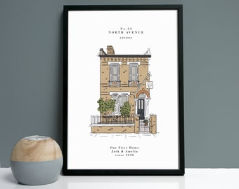 Personalised Unframed Colour House Portrait Print, custom house drawing, new home gift, housewarming, personalised house portrait