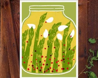 """Asparagus Pickles - Kitchen art print - 11""""x15"""" - archival fine art giclée print"""