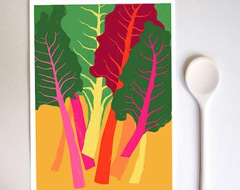 "Rainbow Chard Kitchen Art Print  8.3"" x 11.7"" - archival fine art giclée print"