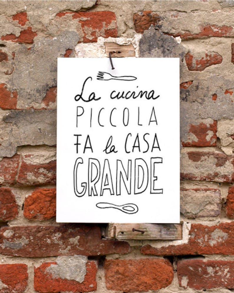 11x15' LA CUCINA  italian kitchen print italy art quote image 0