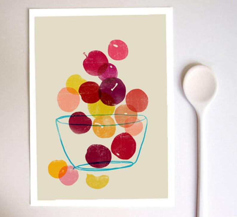 Kitchen Art print  Plums  Summer Fruit Art  / high quality image 0