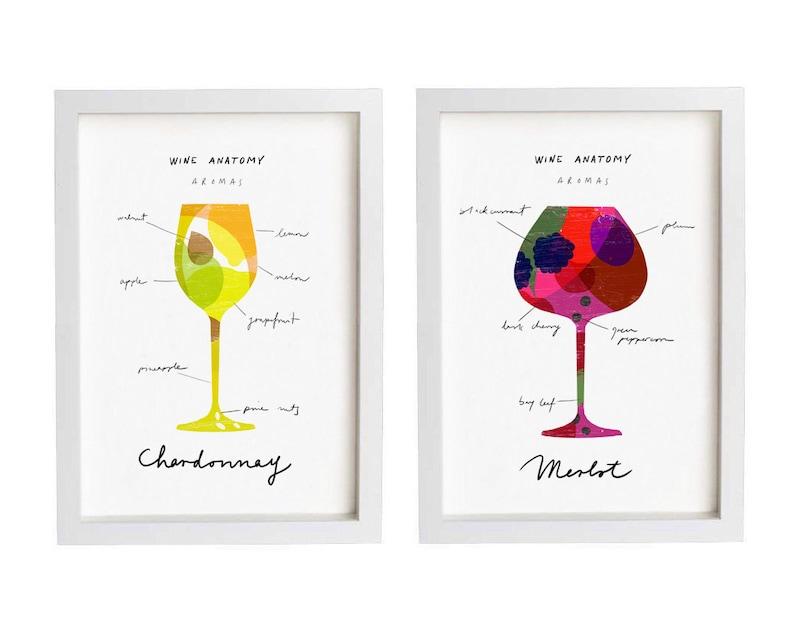 Wine Anatomy 2 Print Set 83 X 117 Merlot And Etsy