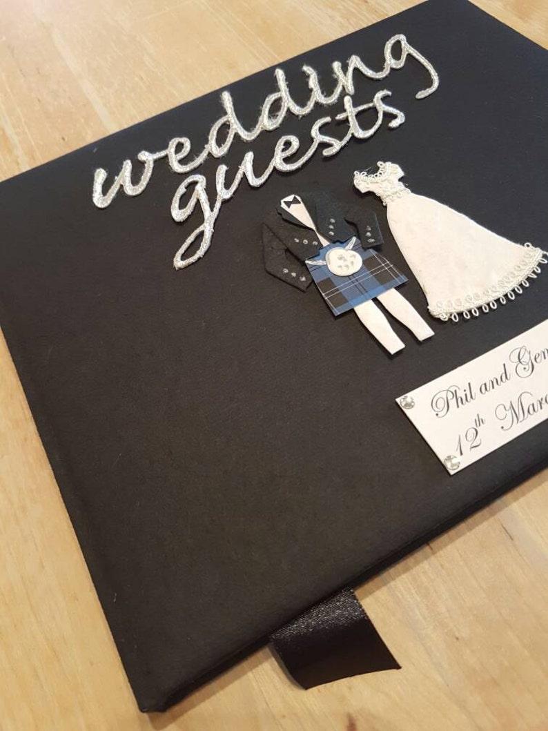 Black Scottish Wedding Guest Book