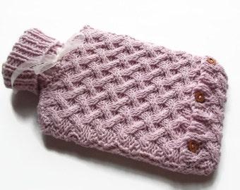 knitting pattern PDF file, Hot water bottle cover ,
