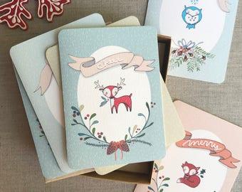 Christmas Cards Boxed Set - Assorted Cards - Cute Christmas Cards - Woodland Creatures - Holiday Card set - Xmas Card Set