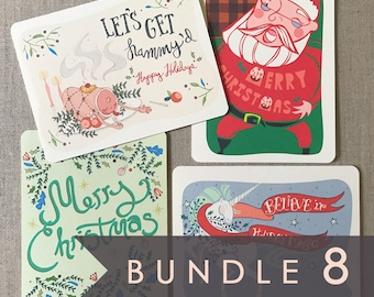 hoilday card set of 8 holiday boxed set christmas cards boxed set boxed holiday cards cute xmas card pack holiday card box set - Boxed Holiday Cards