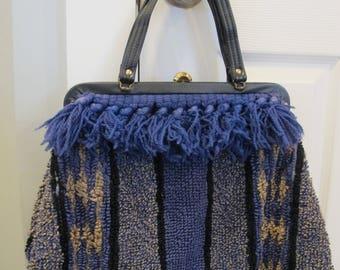 e172e0b6015 Retro CARPET BAG Purse Tote Large handbag BOHO vintage blue fringe metal  clasp