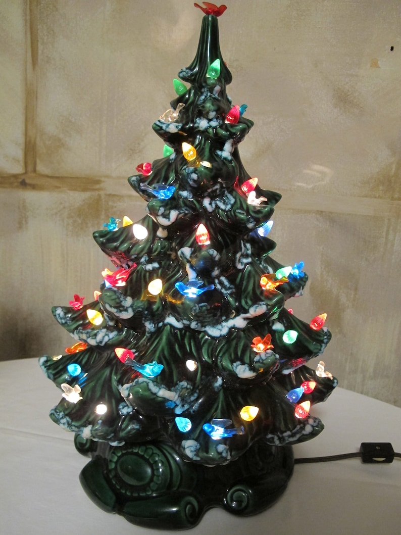 Vintage Ceramic Christmas Tree.Vintage Ceramic Christmas Tree 2 Pc 16 Tall Green Assorted Color Birds Lights