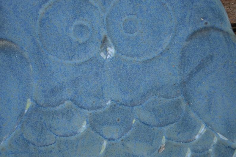 Denim Blue Ceramic Owl Dish Change Catch All Jewelry Earth Tone Glaze Modern Ceramic Plate Spoon Rest