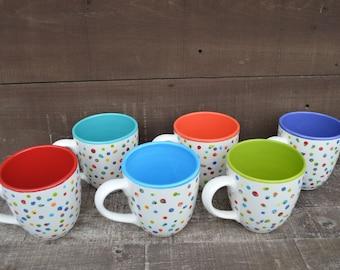 Awesome Dots Large Ceramic Rainbow Coffee Mug - 22 oz. - OOAK Hand Painted Mug