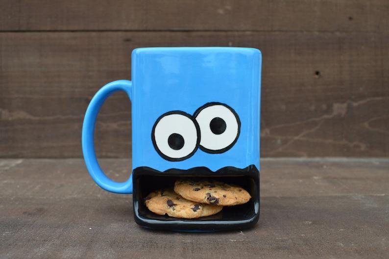 Googly Eyed Monster Dunk Mug  Ceramic Cookie and Milk Mug  image 0