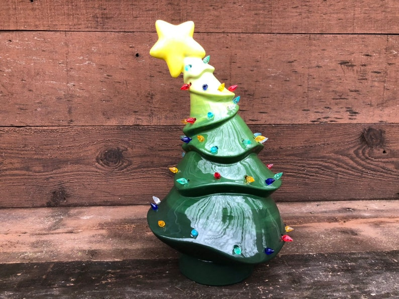 Whimsical Ceramic Christmas Tree With Lights Handpainted In Green Ombre Gradient Greens Extra Large