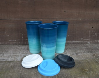 Turquoise Ombre Large Ceramic Travel Mug with Silicone Lid - Gradient Design - Pick Your Lid Color - Teal Aqua Tidepool