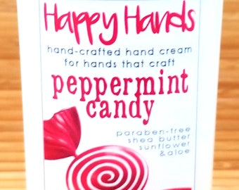 Scented Shea Butter Hand Cream - Fresh Peppermint Candy Fragrance - Happy Hands Hand Crafted Natural Hand Lotion Knitters & Crafters