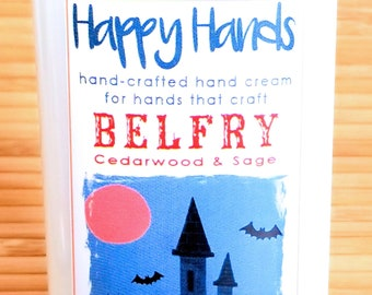 Scented Shea Butter Hand Cream BELFRY Cedarwood & Sage Light Woodsy Gender Neutral Fragrance - Happy Hands Hand Crafted Natural Hand Lotion