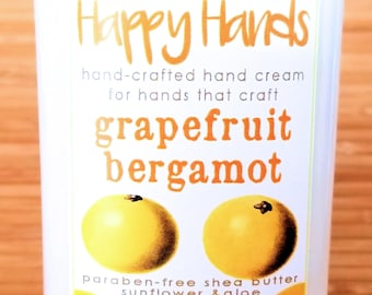 Scented Shea Butter Hand Lotion - Grapefruit Bergamot Citrus Fragrance - Happy Hands Hand Crafted Natural Hand Lotion Knitters & Crafters