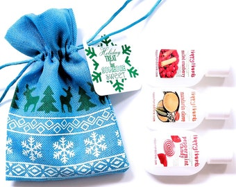 Hand Cream Trio Gift Set - Blue or Gray Linen Christmas Gift Bag - HAPPY HANDS for Knitters - 3 Tottle Bottles Assorted Scents Shea Butter