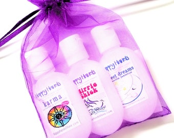 Hand Cream Trio of Tottles Gift Set - HAPPY HANDS Gift for Knitters - 3 Bottles Assorted Scents Shea Butter Lotion Trial and Travel Sizes