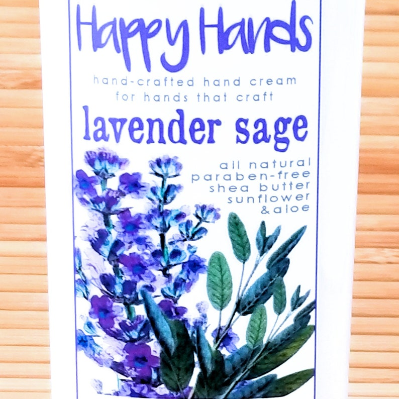 Scented Shea Butter Hand Cream  Lavender Sage Herbal Floral image 0