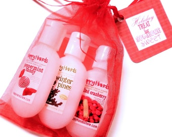 Hand Cream Holiday Trio Gift Set - HAPPY HANDS Gift for Knitters - 3 Tottle Bottles Assorted Scents Shea Butter Lotion Trial Travel Sizes