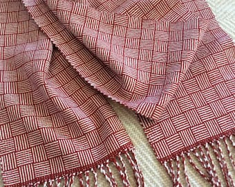 Woven Silk & Merino Wool Scarf, Handwoven, Deep Red and Natural White Silk Scarf