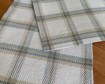 Hand Woven Carpet Wool Runner - Window-Pane Plaid,  Blues Cream Wool Plaid Runner